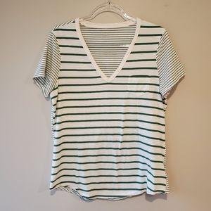 Gap short sleeve v neck stripe top green XL TALL